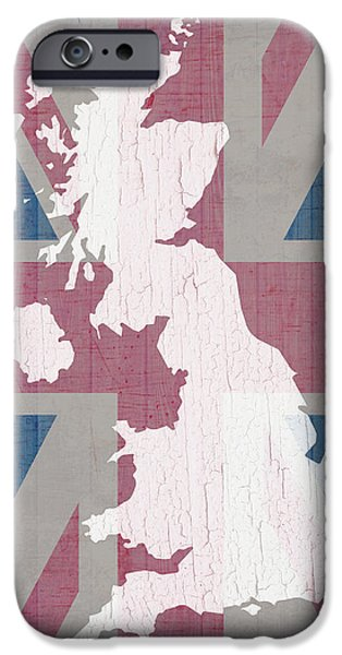 Barns Mixed Media iPhone Cases - Map of United Kingdom and Union Jack Flag on Barn Wood iPhone Case by Design Turnpike
