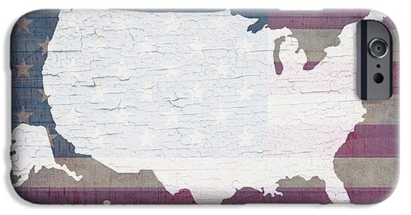 Barns Mixed Media iPhone Cases - Map of United States in White Old Paint on American Flag Barn Wood iPhone Case by Design Turnpike