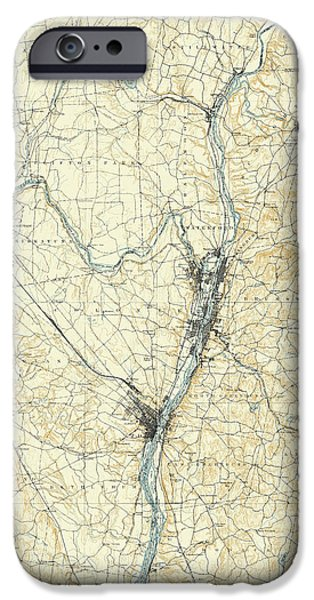 Upstate New York iPhone Cases - Map of Upstate New York 1891 iPhone Case by Andrew Fare