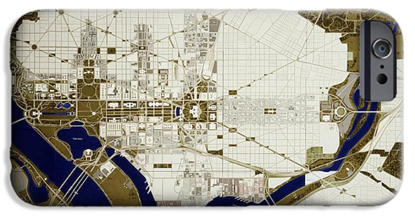 D.c. iPhone Cases - Map of Washington D.C. iPhone Case by Mountain Dreams