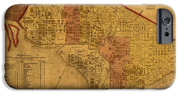 District Of Columbia iPhone Cases - Map of Washington DC in 1850 Vintage Old Cartography on Worn Distressed Canvas iPhone Case by Design Turnpike
