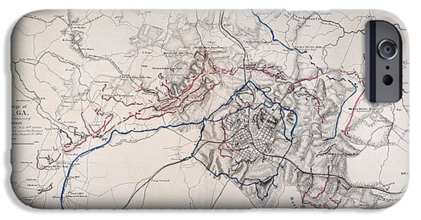 Canvassing iPhone Cases - Map: Siege Of Atlanta 1864 iPhone Case by Granger