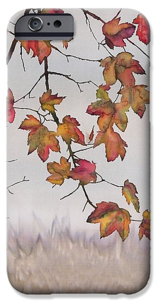 Maple in gray sky iPhone Case by Carolyn Doe