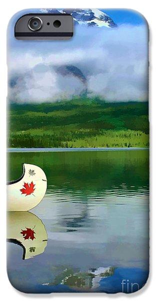 Canoe iPhone Cases - Maple Leaf Canoe on Pyramid Lake iPhone Case by Teresa Zieba