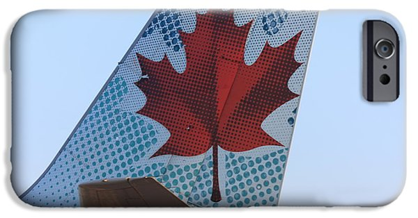 Star Alliance Photographs iPhone Cases - Maple Leaf Logo on Air Canada Airbus 319 iPhone Case by Andrei Filippov