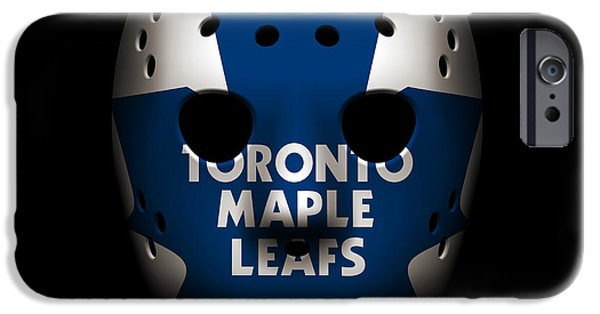 Toronto Maple Leafs iPhone Cases - Maple Leafs Goalie Mask iPhone Case by Joe Hamilton