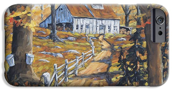 Quebec Paintings iPhone Cases - Maple Sugar Bush  Road by Prankearts iPhone Case by Richard T Pranke