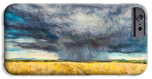 Masai Mara Photographs iPhone Cases - Mara Storm, 2012 Oil On Canvas iPhone Case by Tilly Willis