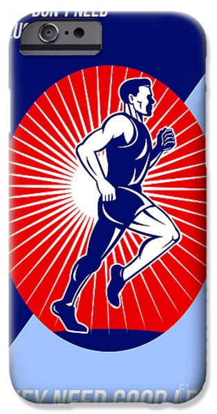Marathon Good Luck Good Legs Poster iPhone Case by Aloysius Patrimonio