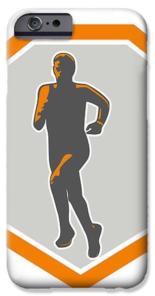 Marathon Runner Running Front Shield Retro iPhone Case by Aloysius Patrimonio