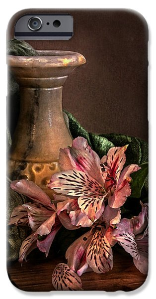 Marble vase with lilies iPhone Case by Hugo Bussen