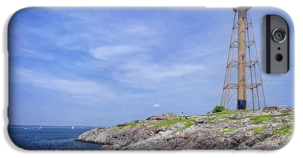 New England Lighthouse iPhone Cases - Marblehead Light iPhone Case by Joan Carroll