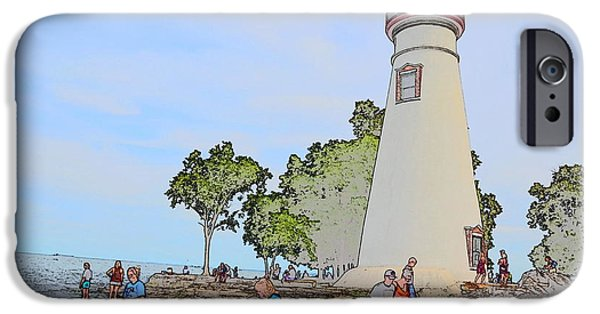 Historic Site Drawings iPhone Cases - Marblehead Lighthouse iPhone Case by Jim Steinmiller