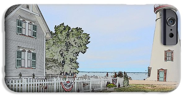 Historic Site Drawings iPhone Cases - Marblehead Lighthouse with Keepers house iPhone Case by Jim Steinmiller