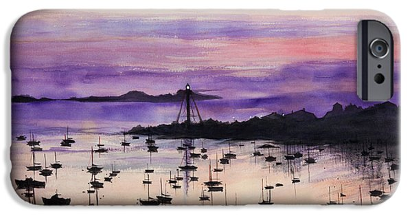 Recently Sold -  - Sailboat iPhone Cases - Marblehead Sunset Watercolor iPhone Case by Michelle Wiarda