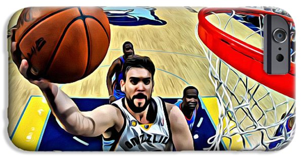 Slam Photographs iPhone Cases - Marc Gasol iPhone Case by Florian Rodarte
