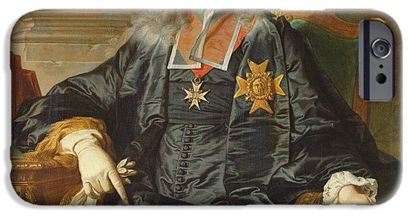Politician iPhone Cases - Marc-pierre De Voyer-de-paulmy 1696-1764 Count Of Argenson Oil On Canvas iPhone Case by Hyacinthe Rigaud