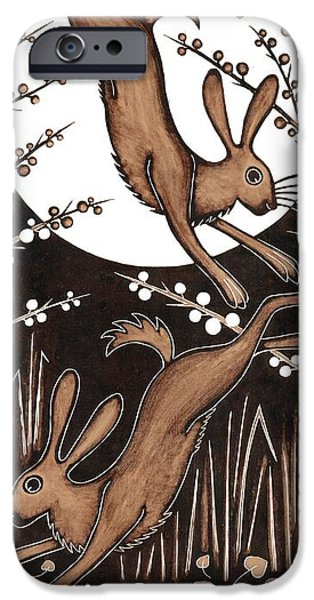 Print Photographs iPhone Cases - March Hares, 2013 Woodcut iPhone Case by Nat Morley