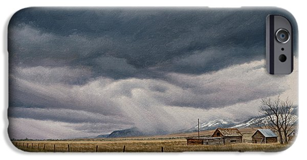 Building iPhone Cases - March Sky-Montana iPhone Case by Paul Krapf