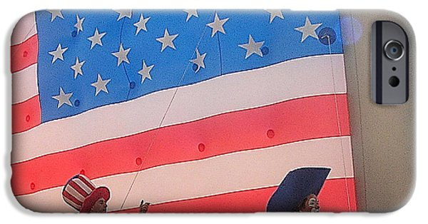 Prescott iPhone Cases - Marchers balloon flag number 1 July 4th parade Prescott Arizona 2002 iPhone Case by David Lee Guss
