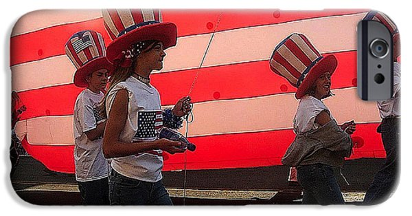 Prescott iPhone Cases - Marchers balloon flag number 2 July 4th parade Prescott Arizona 2002 iPhone Case by David Lee Guss