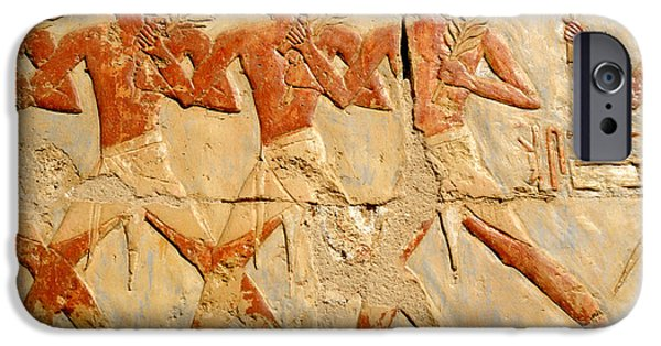 Hathor iPhone Cases - Marching in Triumph iPhone Case by Brenda Kean