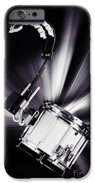 Marching Band Photographs iPhone Cases - Marching Snare drum Music Photograph in Sepia 3327.01 iPhone Case by M K  Miller