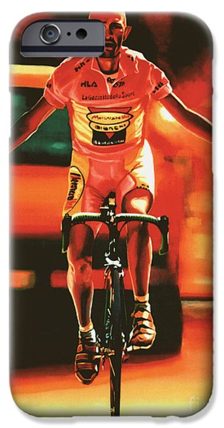 Racer iPhone Cases - Marco Pantani iPhone Case by Paul  Meijering