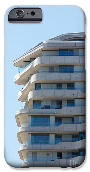 Brutalism iPhone Cases - Marco-Polo-Tower Facade iPhone Case by Jannis Werner