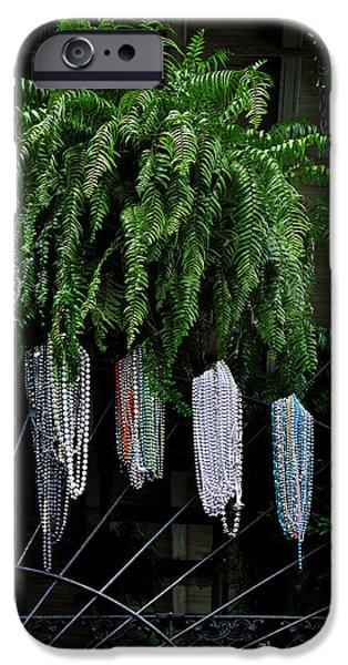 Beads iPhone Cases - Mardi Gras Beads New Orleans iPhone Case by Christine Till