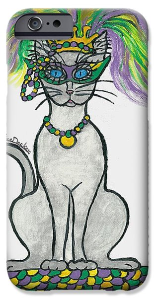 Mardi Gras Paintings iPhone Cases - Mardi Gras Cat iPhone Case by Claire Decker