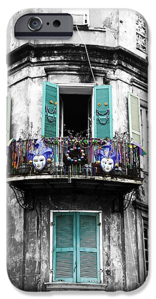 Balcony iPhone Cases - Mardi Gras Fusion iPhone Case by John Rizzuto