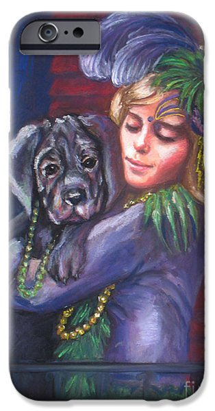 Balcony Pastels iPhone Cases - Mardi Gras Puppy iPhone Case by Beverly Boulet