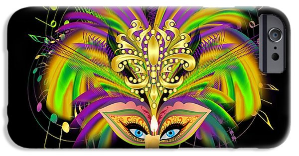Jambalaya iPhone Cases - Mardi Gras Queen Prints iPhone Case by Bill Campitelle