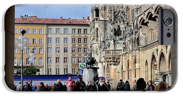 U-bahn iPhone Cases - Mareinplatz and Glockenspiel Munich Germany iPhone Case by Imran Ahmed