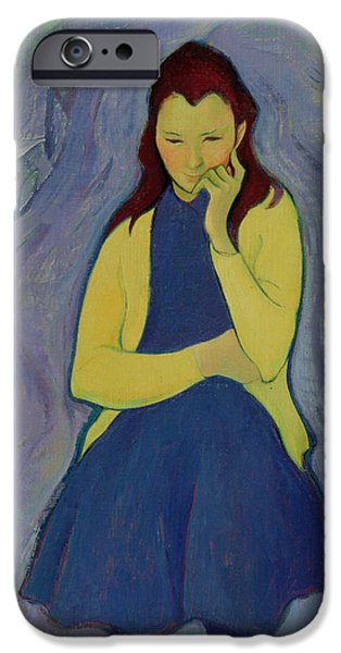 Thinking iPhone Cases - Margaret, Irish Girl, 1967 Oil On Canvas iPhone Case by Antonio Ciccone
