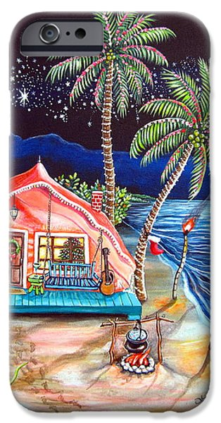 Margaritaville Conch Christmas iPhone Case by Abigail White