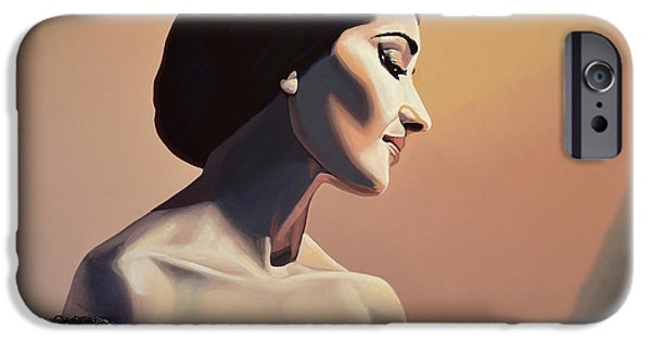 City Scenes Paintings iPhone Cases - Maria Callas iPhone Case by Paul Meijering