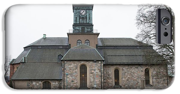 Headstones iPhone Cases - Maria church Enkoeping   Leif Sohlman iPhone Case by Leif Sohlman