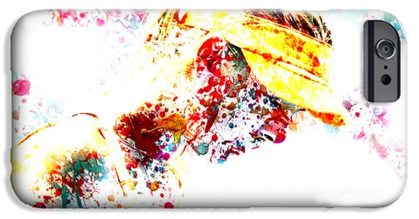 Wta Digital Art iPhone Cases - Maria Sharapova Paint Splatter 3p iPhone Case by Brian Reaves
