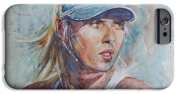 Maria Sharapova iPhone Cases - Maria Sharapova - Portrait 1 iPhone Case by Baresh Kebar - Kibar