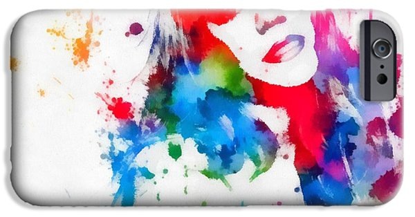 Iconic Mixed Media iPhone Cases - Mariah Carey Watercolor Paint Splatter iPhone Case by Dan Sproul