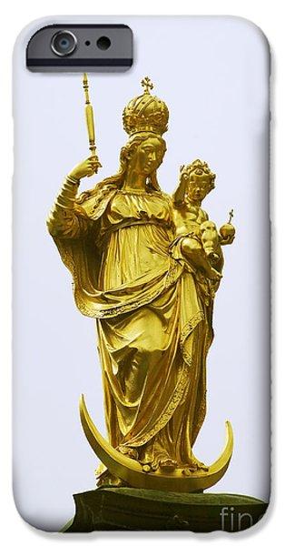 Marienplatz iPhone Cases - Marian Column Munich iPhone Case by Rudi Prott