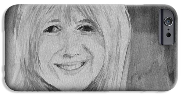 Monotone Paintings iPhone Cases - Marianne Faithfull iPhone Case by Martin Howard
