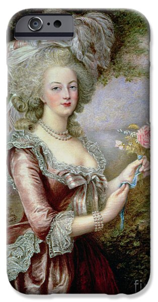 Portraits Female Paintings iPhone Cases - Marie Antoinette after Vigee Lebrun iPhone Case by Louise Campbell Clay