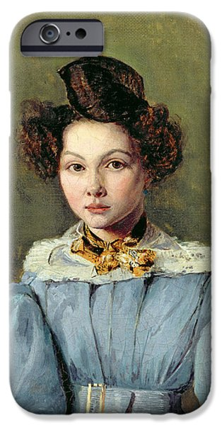 Madame iPhone Cases - Marie Louise Sennegon, 1831 Oil On Canvas iPhone Case by Jean Baptiste Camille Corot