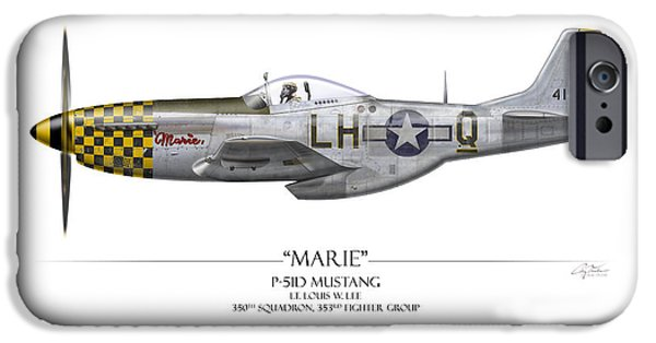 P-51 iPhone Cases - Marie P-51 Mustang - White Background iPhone Case by Craig Tinder