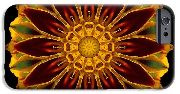 David J Bookbinder iPhone Cases - Marigold Flower Mandala iPhone Case by David J Bookbinder