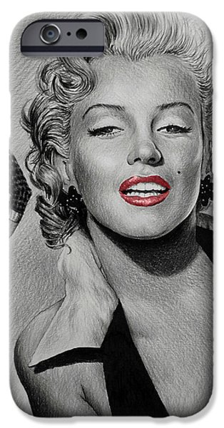 1950s Portraits Drawings iPhone Cases - Marilyn Hot Lips version iPhone Case by Andrew Read
