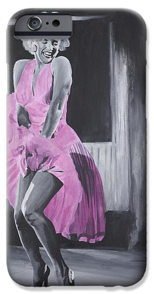 Elton John Paintings iPhone Cases - Marilyn In Pink iPhone Case by Genevieve Glenn